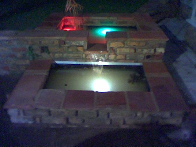 Water feature with underwater lights.