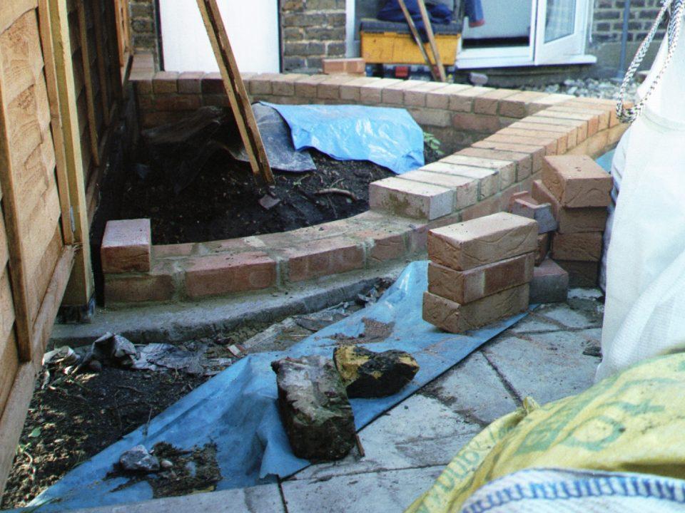 Brickwork being done.