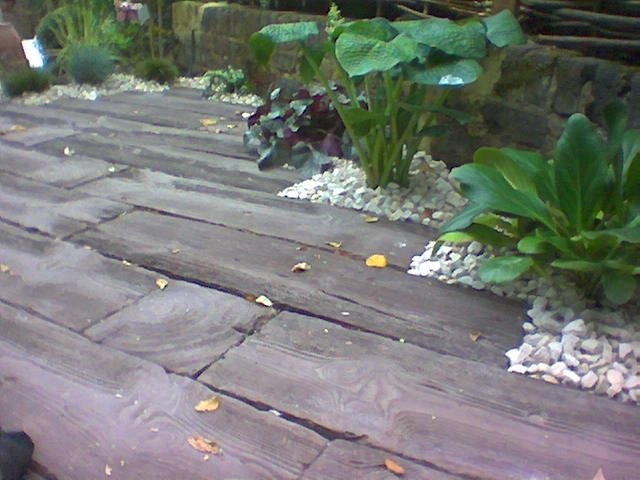 Garden floorboards.