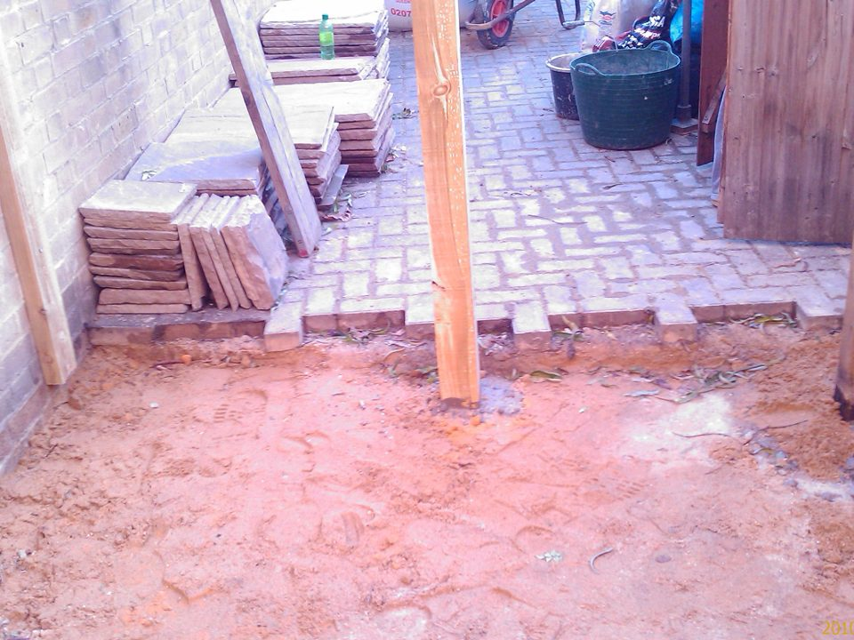 Brickwork being laid out.