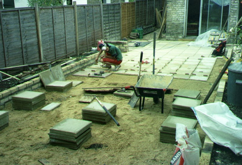 Cement tiles being laid out.